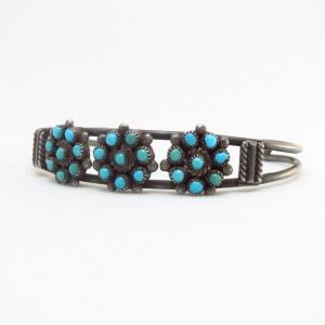Vintage Zuni SnakeEye Turquoise Cluster Cuff Bracelet c.1970
