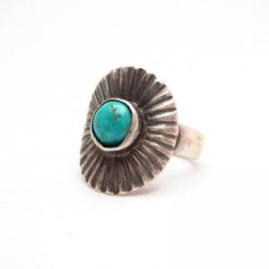 Antique Sunburst Stamped Concho Tourist Silver Ring  c.1920