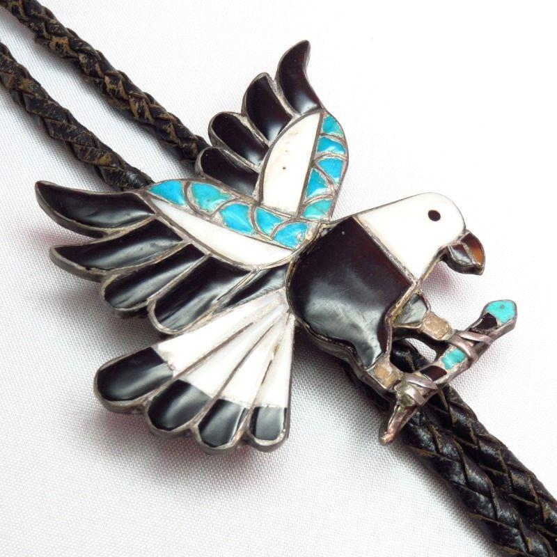 Sterling Zuni Inlaid Bolo Tie Eva Etsate Eagle