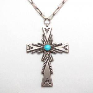 Vintage Handmade Necklace w/Heavy Silver Cross Fob  c.1950