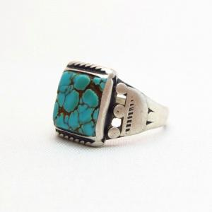 Antique Navajo Worn Silver Ring w/Square Turquoise  c.1930~