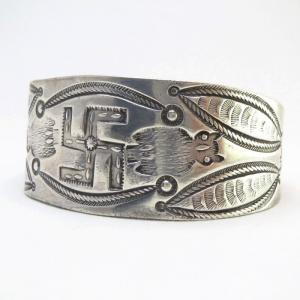 Antique 卍 & Owl Stamped Ingot Silver Cuff Bracelet  c.1915~