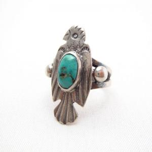 Antique Thunderbird Shape Silver Tourist Ring w/TQ c.1930~
