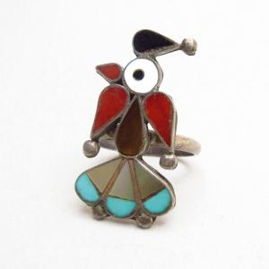 Vintage Zuni Channel Inlay Thunderbird Silver Ring  c.1960
