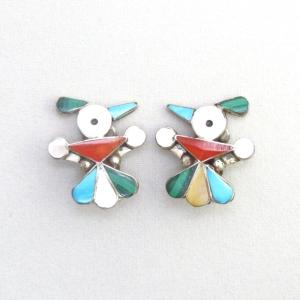 Vintage Zuni Inlay Thunderbird Clip On Earrings  c.1960~
