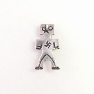 Antique 卍 Stamped Human Shape Small Pin Brooch  c.1930