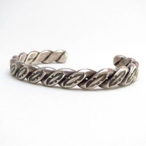 Antique Heavy Stamped Twistedwire Cuff Bracelet  c.1935~