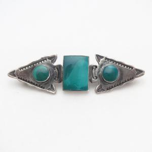 Antique Two Arrowheads & Green Turquoise Pin Brooch  c.1935~