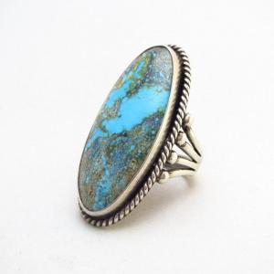 Vintage Silver Ring w/Huge High Grade #8 Turquoise  c.1940~