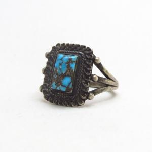Antique Navajo Silver Ring w/Sq. Persian Turquoise  c.1930~