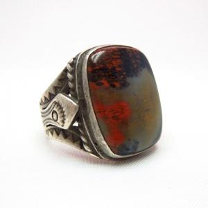 Antique Navajo Silver Ring w/PetrifiedWood c.1930~