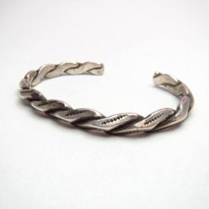 Antique Ingot Silver Twisted Triangle Cuff Bracelet  c.1930~