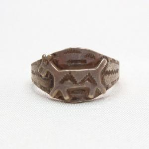 Antique Horse Patch & Arrow Stamp Ring  c.1930