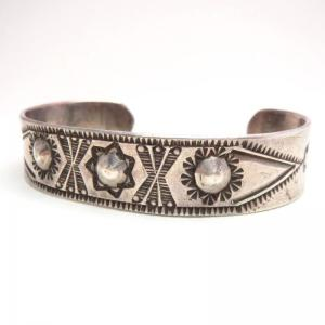 Antique Repoused & Stamped Ingot Silver Cuff Bracelet c.1910