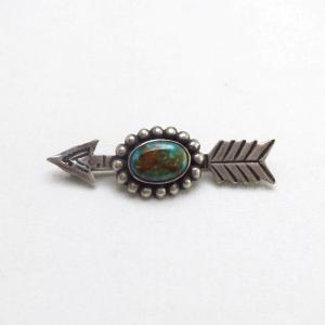 Antique Stamped Arrow Shape Silver Small Pin w/GemTQ c.1935~