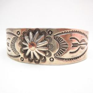 Antique Concho Repoused Stamped Silver Cuff Bracelet  c.1930