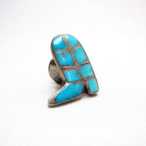 Vintage Zuni Inlay Boots Shape Pin  c.1950~