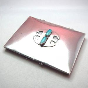 "Vintage 【Thunderbird Shop】 ""E"" Silver Card Case w/TQ"
