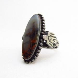 Vtg Thundebird Applique Silver Ring w/PetrifiedWood  c.1935~
