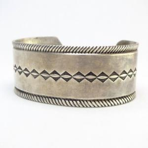 Vintage Filed & Stamped Ingot Silver Cuff Bracelet  c.1940~