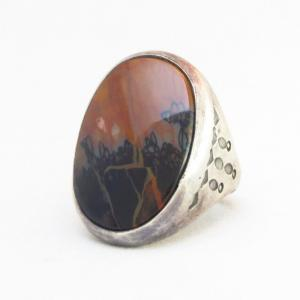 Antique Navajo Silver Men's Ring w/PetrifiedWood c.1935~