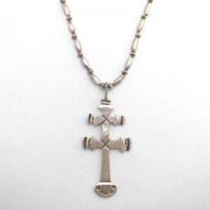 Greg Lewis Acoma Dragonfly Cross Fob w/Vintage Bead Necklace