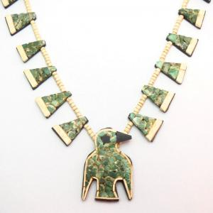 Antique Santo Domingo Two Tone Thunderbird Necklace  c.1930