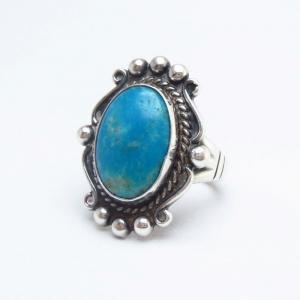 Vintage 【BELL TRADING POST】 Silver Tourist Ring w/TQ c.1950~