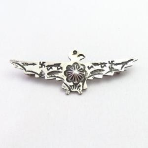 Atq 卍 Stamped Silver Hand Made Thunderbird Shaped Pin c.1930