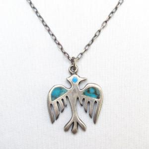 Vintage Zuni TQ Inlay Peyote/Thunderbird Top Necklace c.1960