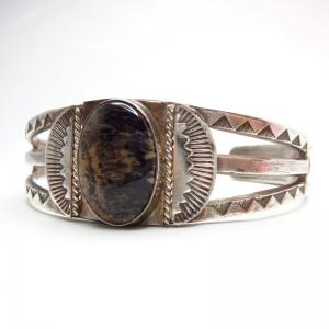 Antique Split Shank Cuff w/PetrifiedWood  c.1930~