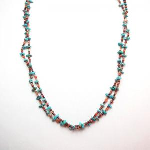 OLDPAWN Turquoise & Brown Shell Bead 2Strand Heishi Necklace