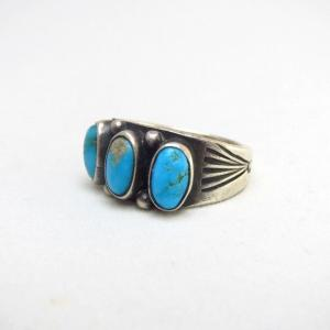 Antique Early Navajo Stamped Silver Ring w/TQ  c.1915~