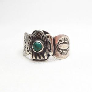 Antique Thunderbird Patched Tourist Silver Ring w/TQ  c.1930