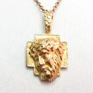 Vintage 14K GLD Jesus Crown of Thorns Fob Necklace