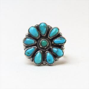 Antique Zuni Cluster Ring w/Turquoise  c.1940