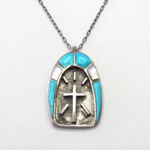 OLD Zuni Turquoise & Shell Inlay Cross Fob Necklace  c.1970~