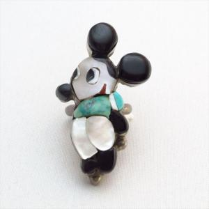 Vintage Zuni Thick Channel Inlay Mickey Silver Ring  c.1970