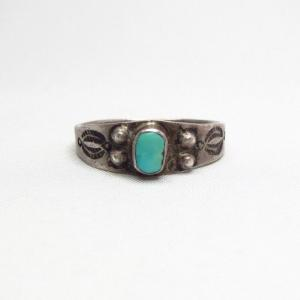 Antique Early Navajo Narrow Silver Tourist Ring w/TQ c.1910~
