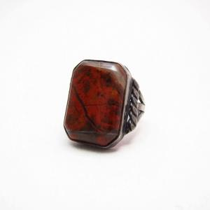 Antique Navajo Silver Ring w/Square PetrifiedWood c.1930~