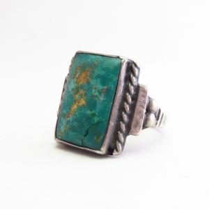 【Wolf-Robe】 Acoma Vintage Silver Ring w/Square TQ  c.1940~