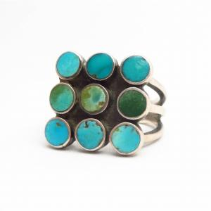 "Vintage Zuni ""Dishta Style"" Turquoise Inlay Ring  c.1960"