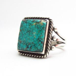 Vintage SplitShank Ring w/Sq. NevadaBlue TQ c.1940