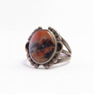 Atq Navajo Split Shank Silver Ring w/PetrifiedWood  c.1940~