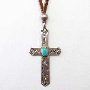 Antique Stamped Silver Cross Fob Necklace w/Beads  c.1920~