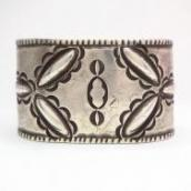 Antique Stamped Heavy Ingot Silver Wide Cuff Bracelet c.1900