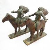 Antique 【Appeal to the Great Spirit】 Bronze Bookends  c.1920