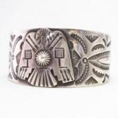 Antique Navajo T-bird Applique IngotSilver Wide Cuff c.1920~