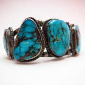 Vintage Cuff with Five Morenci Turquoise  c.1950