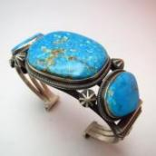 OLDPAWN Cuff with Kingman Turquoise  c.1980